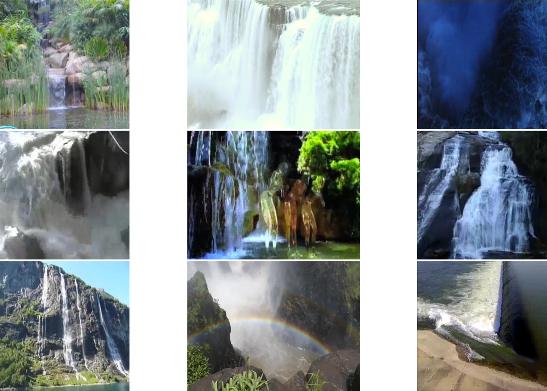 an image of 9 images of waterfalls